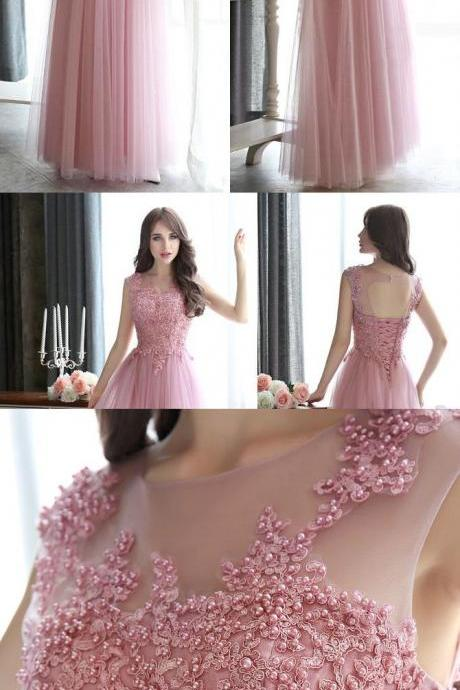 Spaghetti Straps Pink Lace Top Prom Dress, Floor Length Tulle Sleeveless Long Evening Dress With Beads