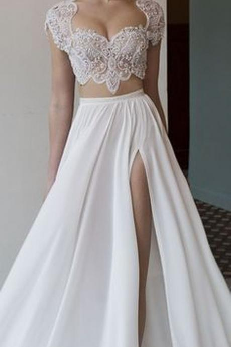 Two Piece Embroidered Top Slit Skirt Wedding Dress