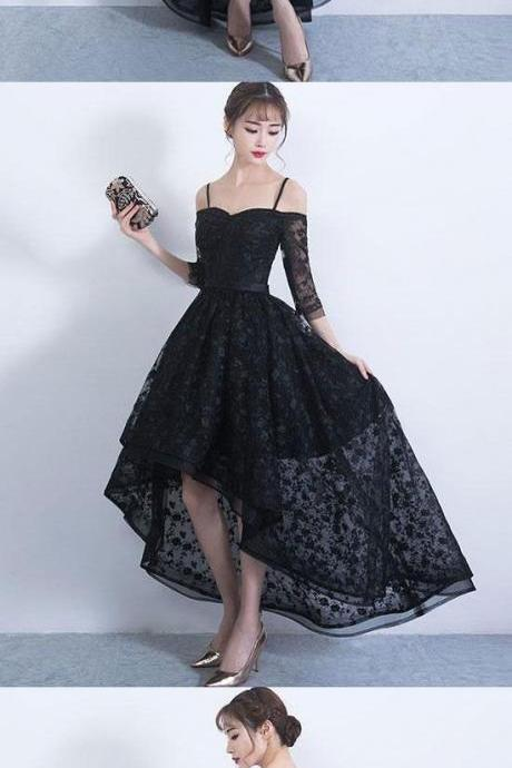 Lace Evening Dresses, Black Lace Prom Dress, High Low Evening Dresses, Prom Dresses