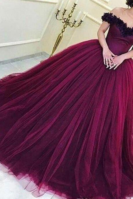 Purple Flowers Long Prom Dress Off the Shoulder Ball Gowns Tulle Evening Dress