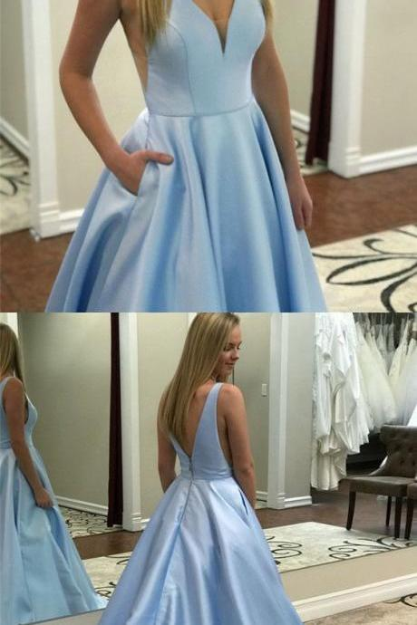 Chic Baby Blue Satin V-neck Satin Prom Dresses Long Backless Evening Gowns