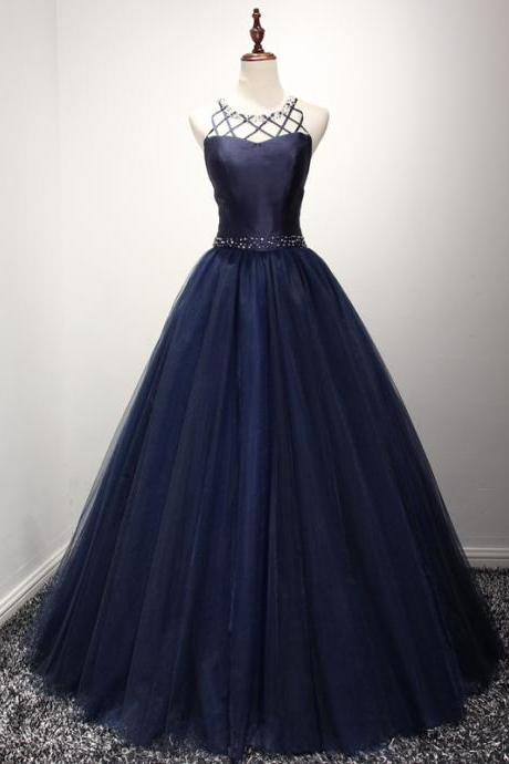 Chic A-line Sleeveless Dark Navy Rhinestone Long Prom Dress Evening Gowns