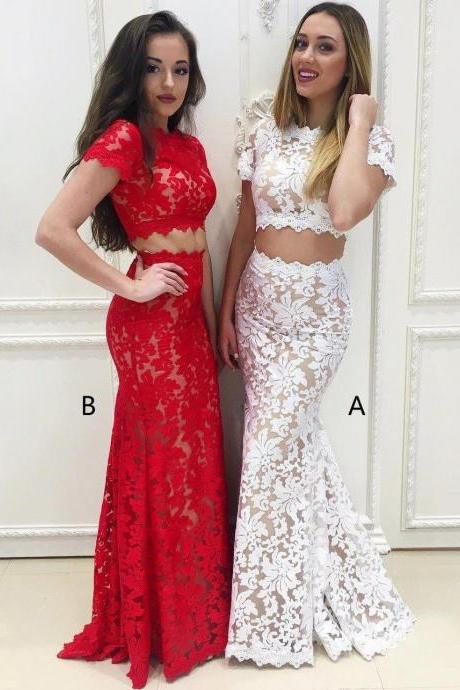 Two Pieces Long Mermaid Cap Sleeves Lace Prom Dresses