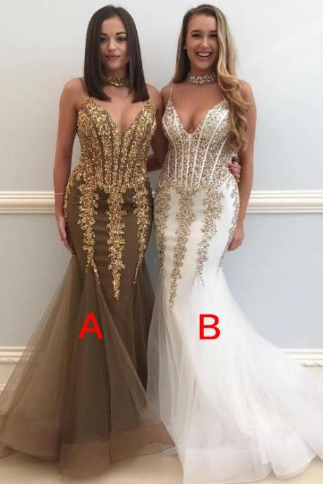 White Red Teal Turquoise Grey V-neck Spaghetti Straps Sexy Elegant Prom Dresses, Long Prom Dress