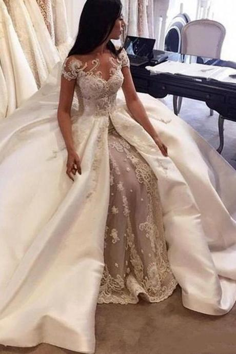 Gorgeous Ball Gown Lace Appliques Wedding Dress 2019 Short Sleeves