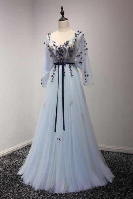 Chic Prom Dress Long Sleeve A-line V-neck Blue Tulle Cheap Evening Dress