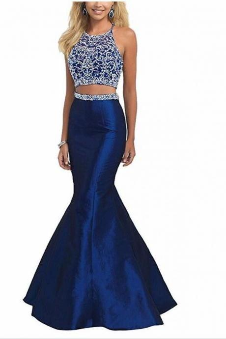Two Pieces Beads Halter Mermaid Floor Length Prom Dress,Evening Dresses