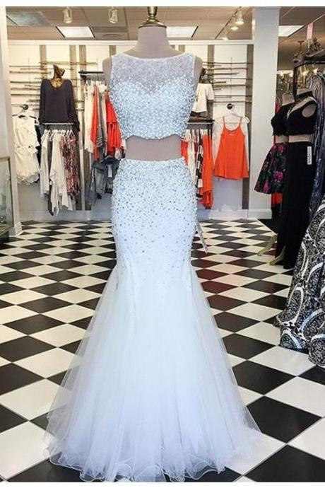 White Tulle Prom Dresses Mermaid Long Sleeveless Evening Dresses Two Piece Formal Gowns Sexy Pearls Party Pageant Graduation Dresses