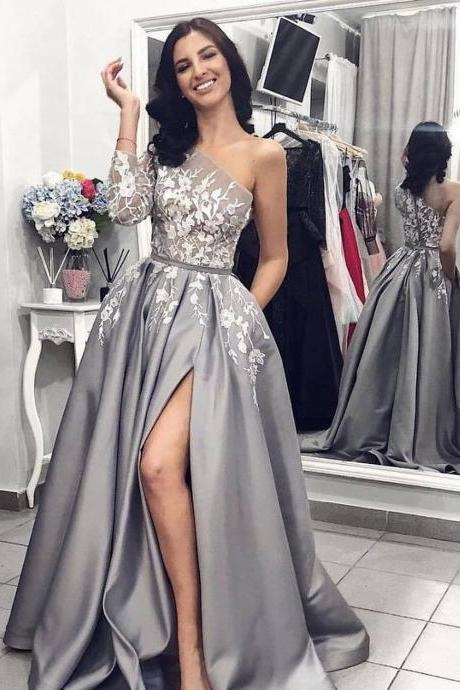 Grey One Shoulder Long Sleeves Lace Long Evening Prom Dresses, Cheap Custom Sweet 16 Dresses