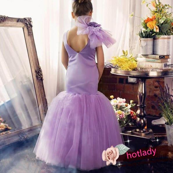Girl's Mermaid Party Dresses, Satin Flower Girl Dresses,Pretty Wedding Dresses for Little Girls