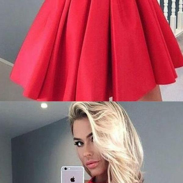 Red Prom Dresses, Short Prom Dresses, Chic Red Homecoming Dress Satin Lace Short Prom Dress Party Dress
