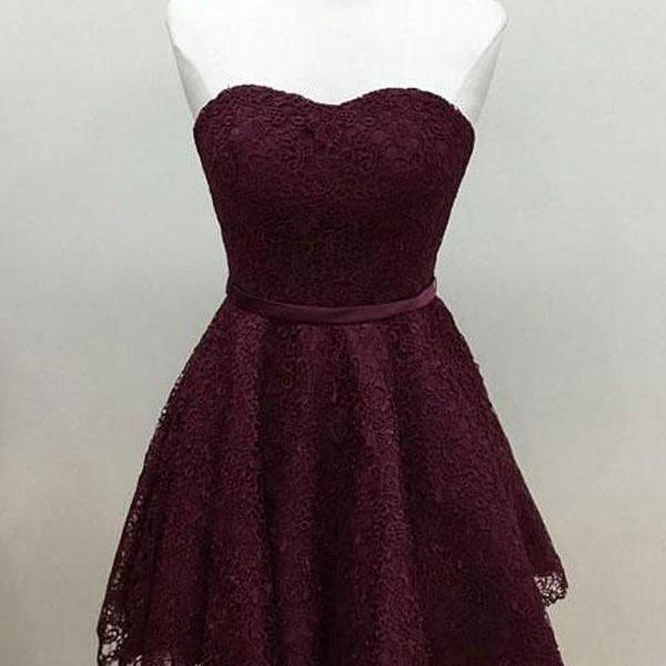 Burgundy Lace Sweetheart Short Ruffled Homecoming Dress Featuring Waistband
