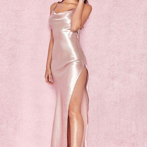 Sexy Spaghetti Straps Side Slit Prom Dresses,Sleeveless Prom Dresses