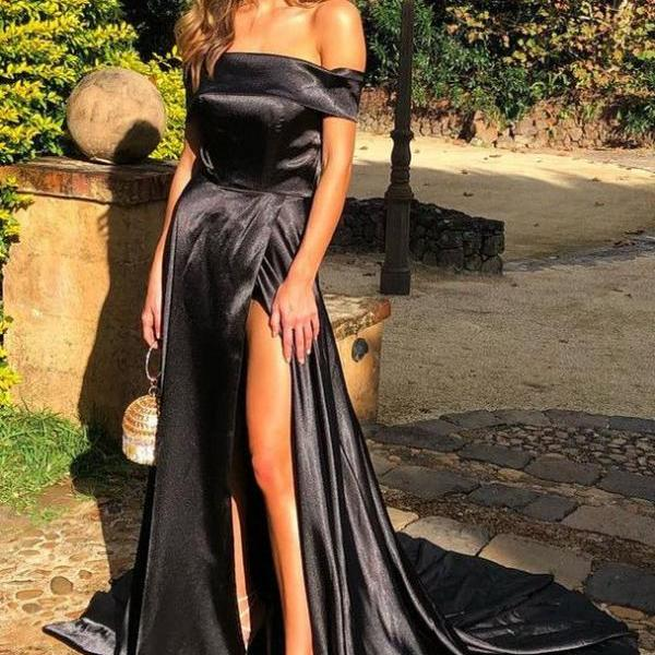 Elegant Off Shoulder Black Split Sweep Train Prom Evening Party Dress